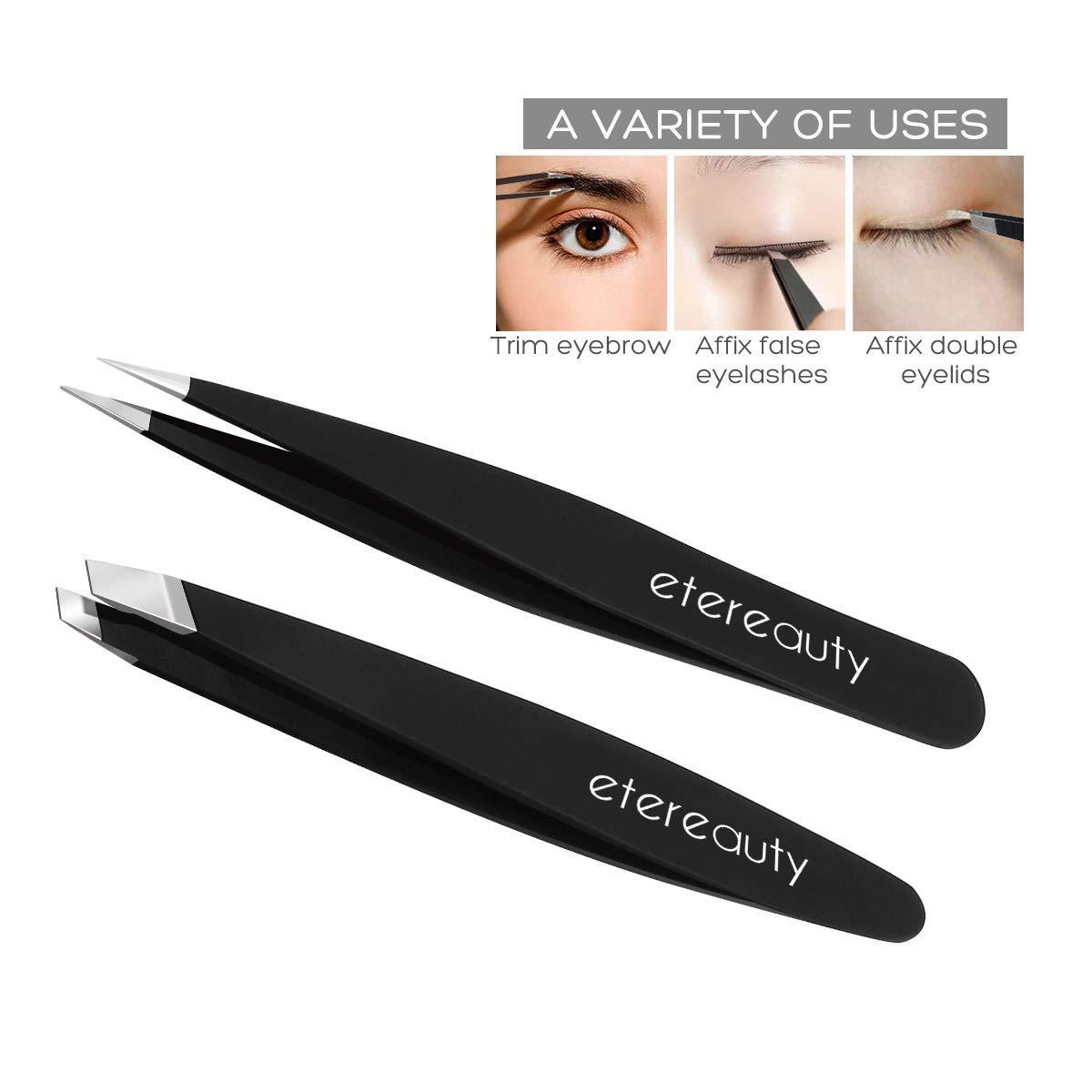 Tweezers Set 2 Pcs,Professional Pointed Eyebrows for Ingrown Hair