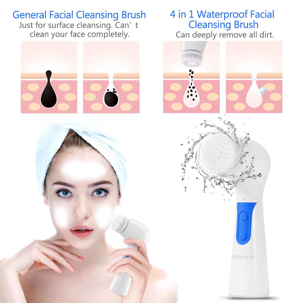 Facial Brush, Waterproof Facial Cleansing Brush Spin Brush 4-in-1 Set, Blue