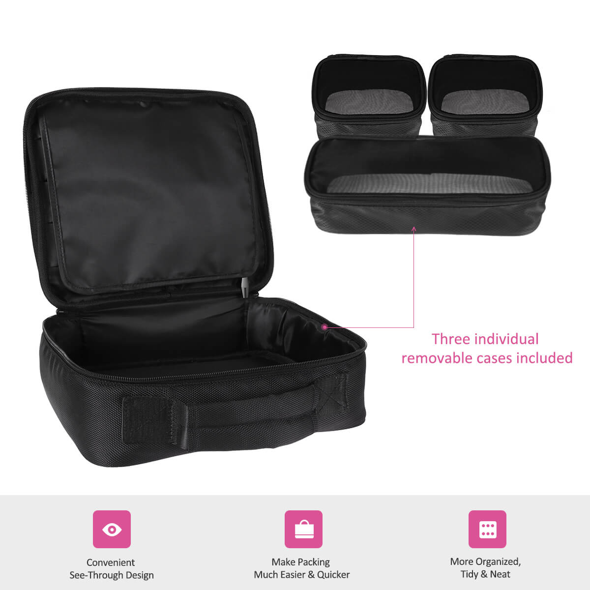Travel Makeup Bag, Portable Cosmetic Case Train Bag with 3 Individual Cases - Black