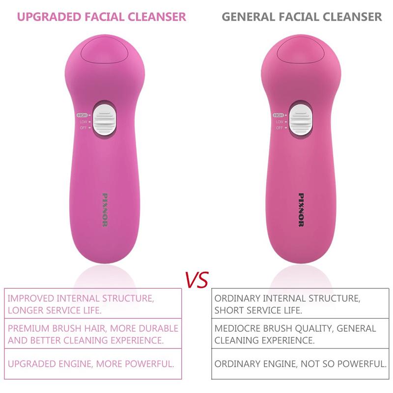7-in-1 Facial Brush Set, Waterproof Facial Cleansing Brush Exfoliating Brush - Pink