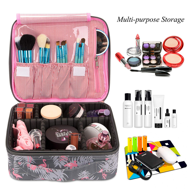 Flamingo Makeup Bag, Professional Cosmetic Bag Train Case Nylon Cosmetic Storage Organizer