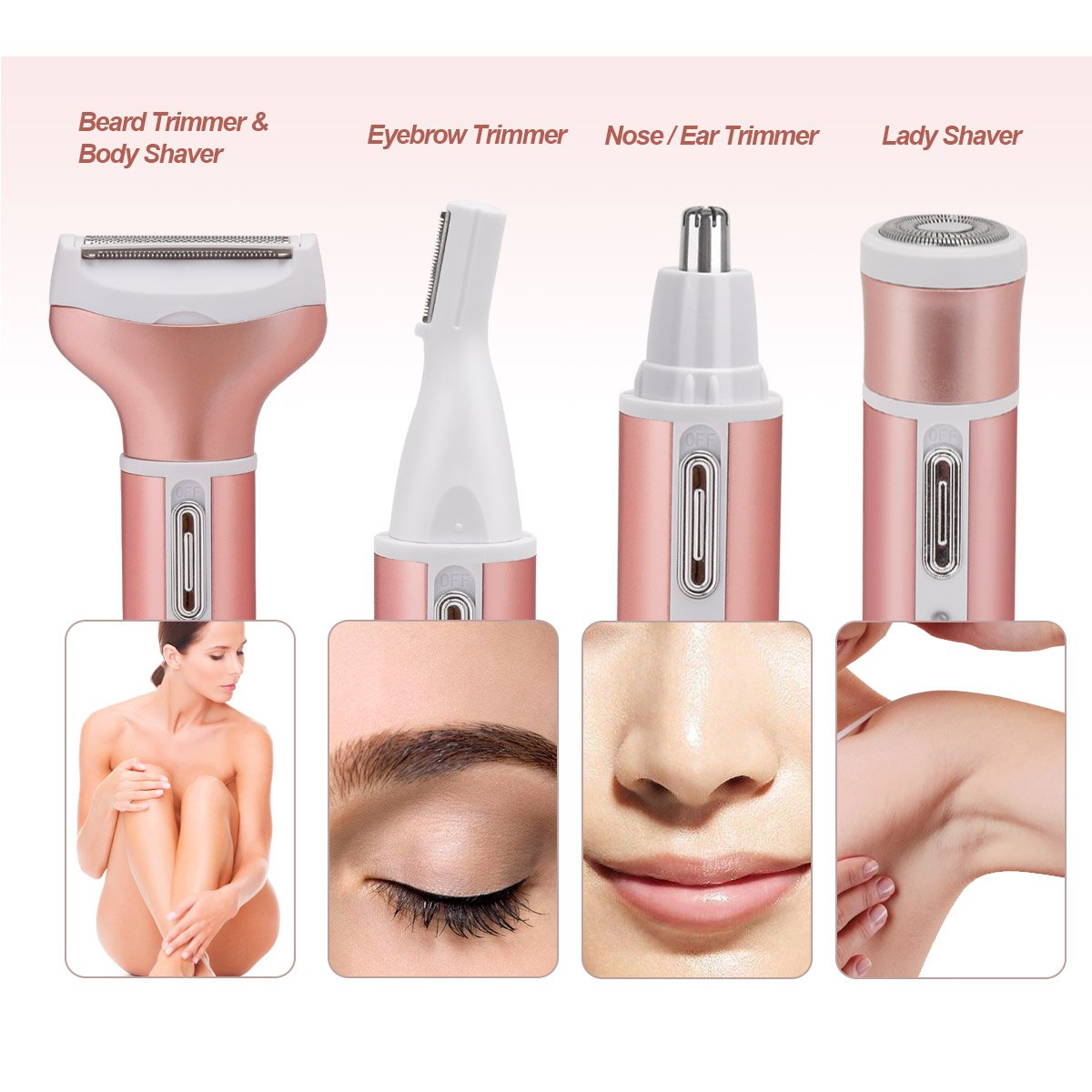 4 in 1 Bikini Trimmer Rechargeable Women's Electric Shaver Facial Hair Removal Set - Pink