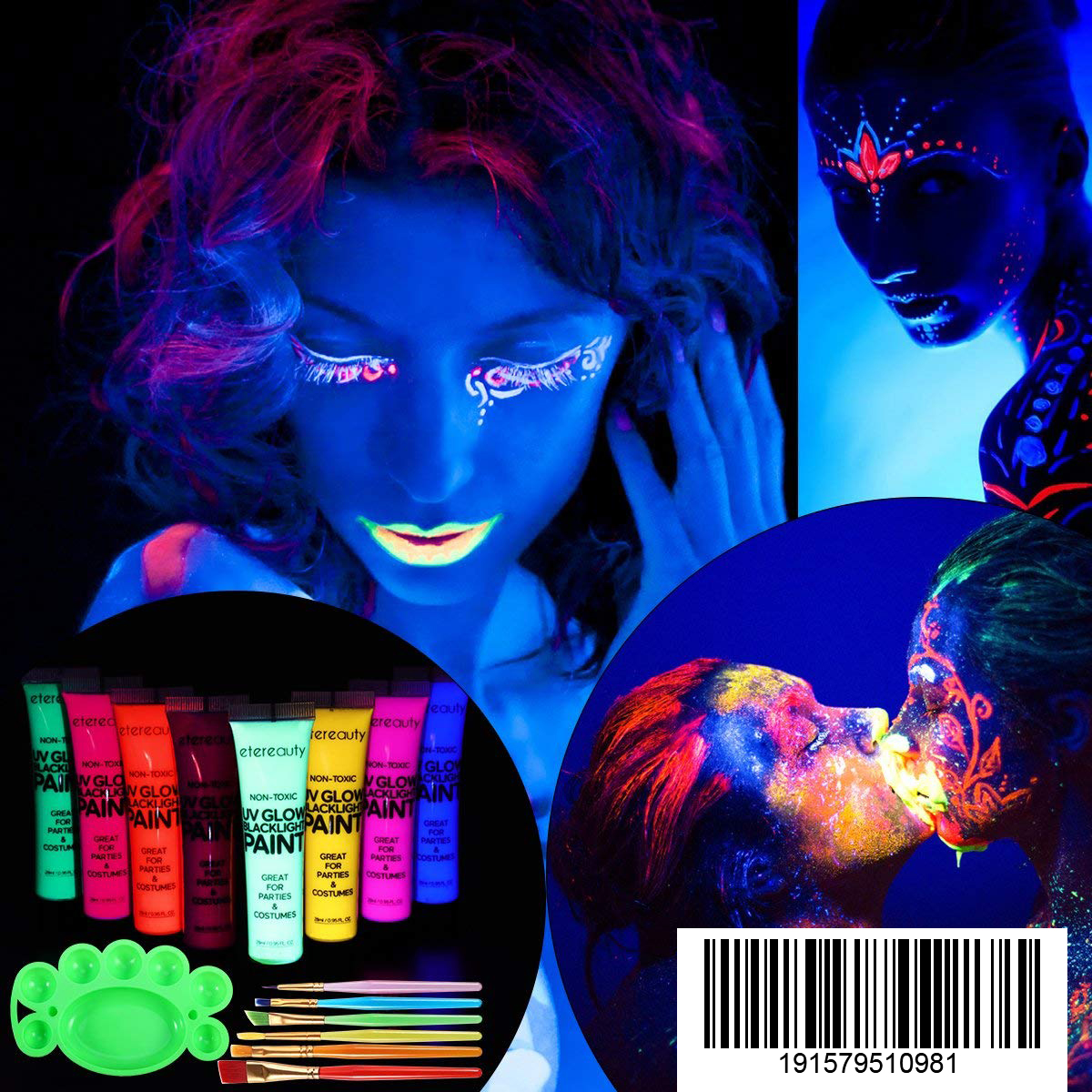 8 x UV Body Paint Glow Blacklight Face and Body Paints