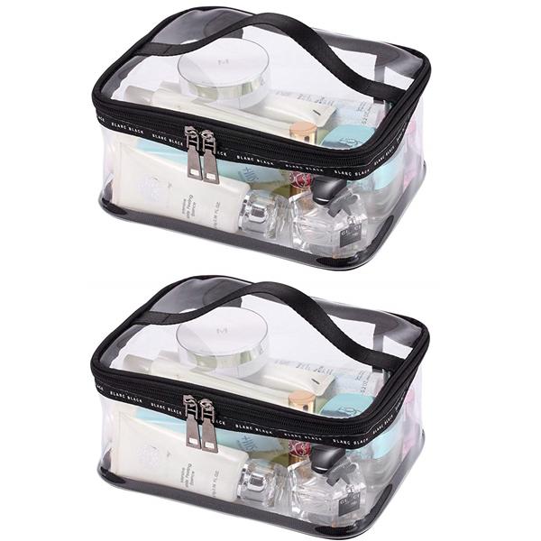 Portable Clear Makeup Bag, Zipper Waterproof Transparent Travel Storage Pouch (2Packs)