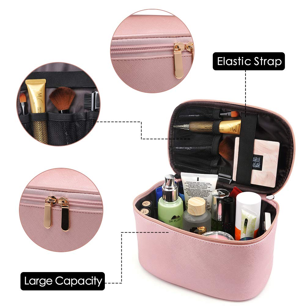 Travel Cosmetic Bag, Travel Accessories Cosmetics Makeup Case Organizer (Pink)