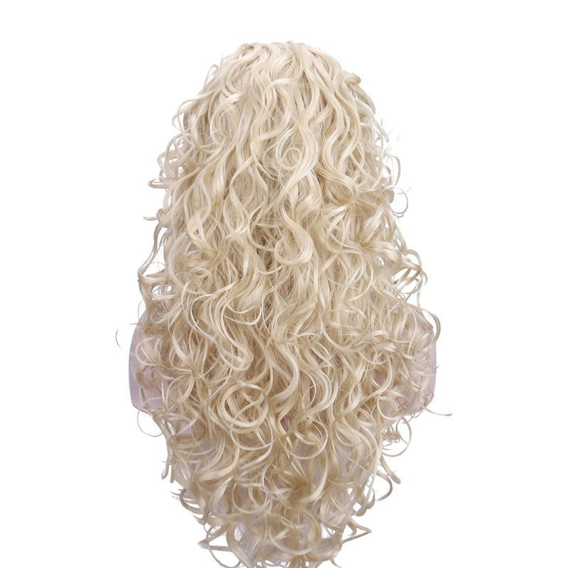 24'' Pale Blonde Curly Wavy Wigs, Heat Resistant Synthetic Full Hair Wigs