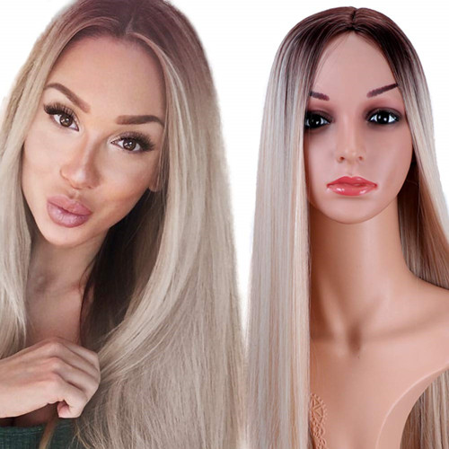 Long Straight Blonde Ombre Wigs, Dark Roots Middle Part Synthetic Full Wigs