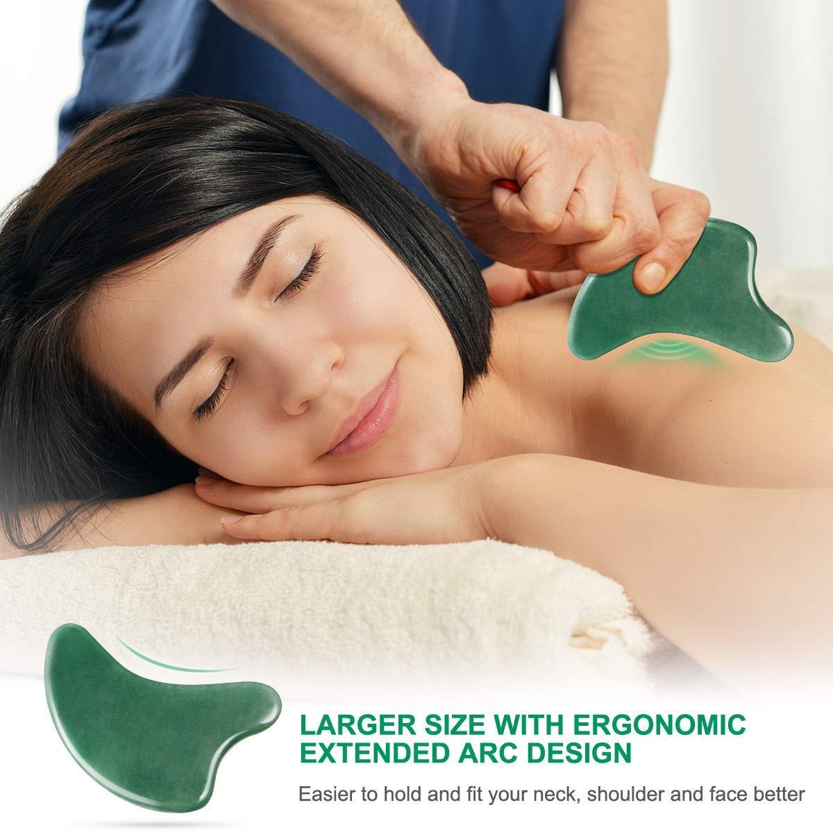 Gua Sha Tool,Natural Gua Sha Jade Stone Guasha Board for Facial Skincare, Extended Arc Design