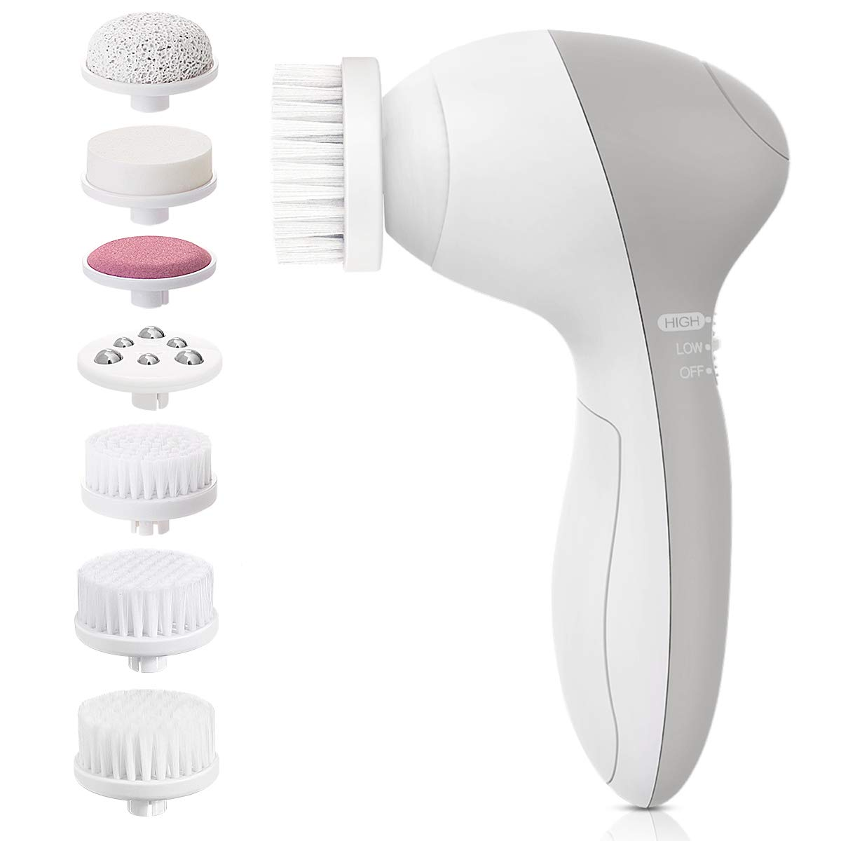 Facial Brush, Waterproof Facial Cleansing Brush with 7 Exfoliating Brush Heads - Silver Grey
