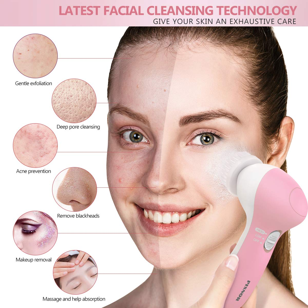 Facial Brush, Waterproof Facial Cleansing Brush Spin Brush with 7 Brush Heads - Soft Pink