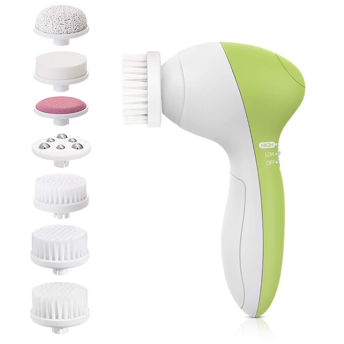 Facial Cleansing Brush, Face Brush Waterproof Exfoliating Brush with 7 Brush Heads - Yellow Green