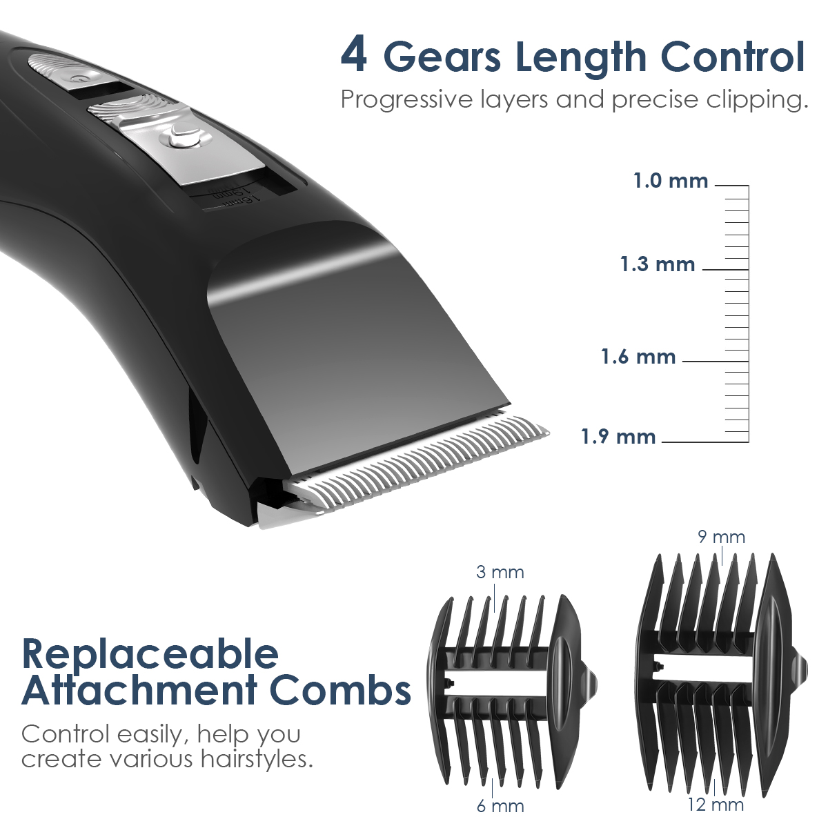Electric Hair Clippers for Men, Cordless Waterproof Hair Cutting Grooming Kit (Black)