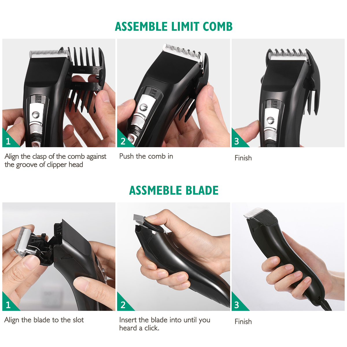 Men's Hair Clipper & Beard Trimmer Hair Cutting Kit with 2 Guide Combs (Black)