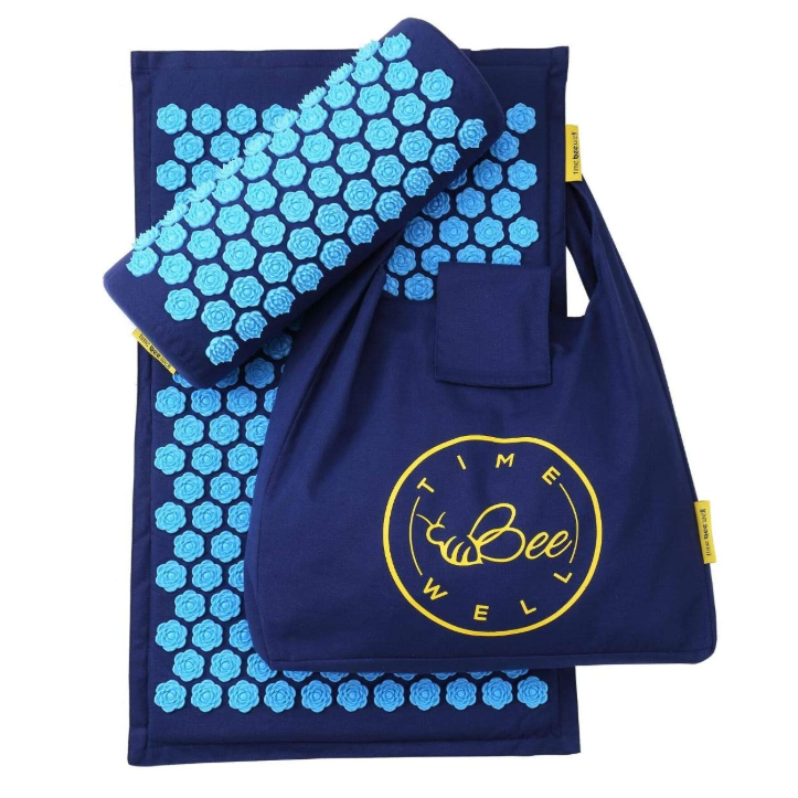 Eco-Friendly Acupressure Mat and Pillow Set - Back & Neck Pain Relief (Blue)