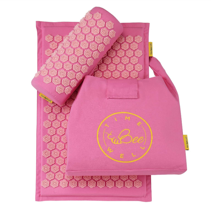 Eco-Friendly Acupressure Mat and Pillow Set - Back & Neck Pain Relief (Pink)