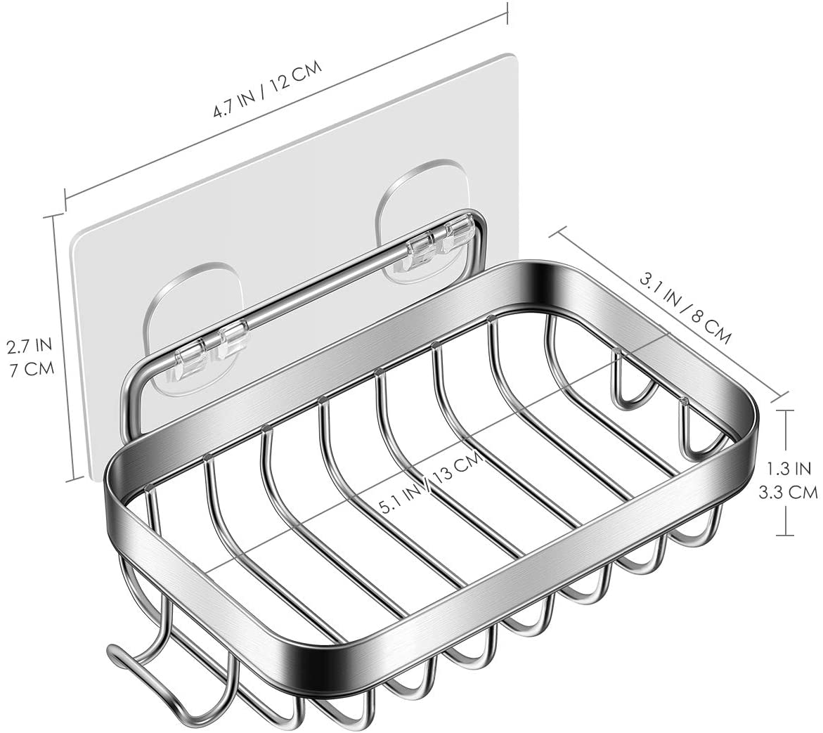 Soap Dish, Soap Dish for Shower with Hook, 304 Stainless Steel Wall Mounted Bar Soap Holder