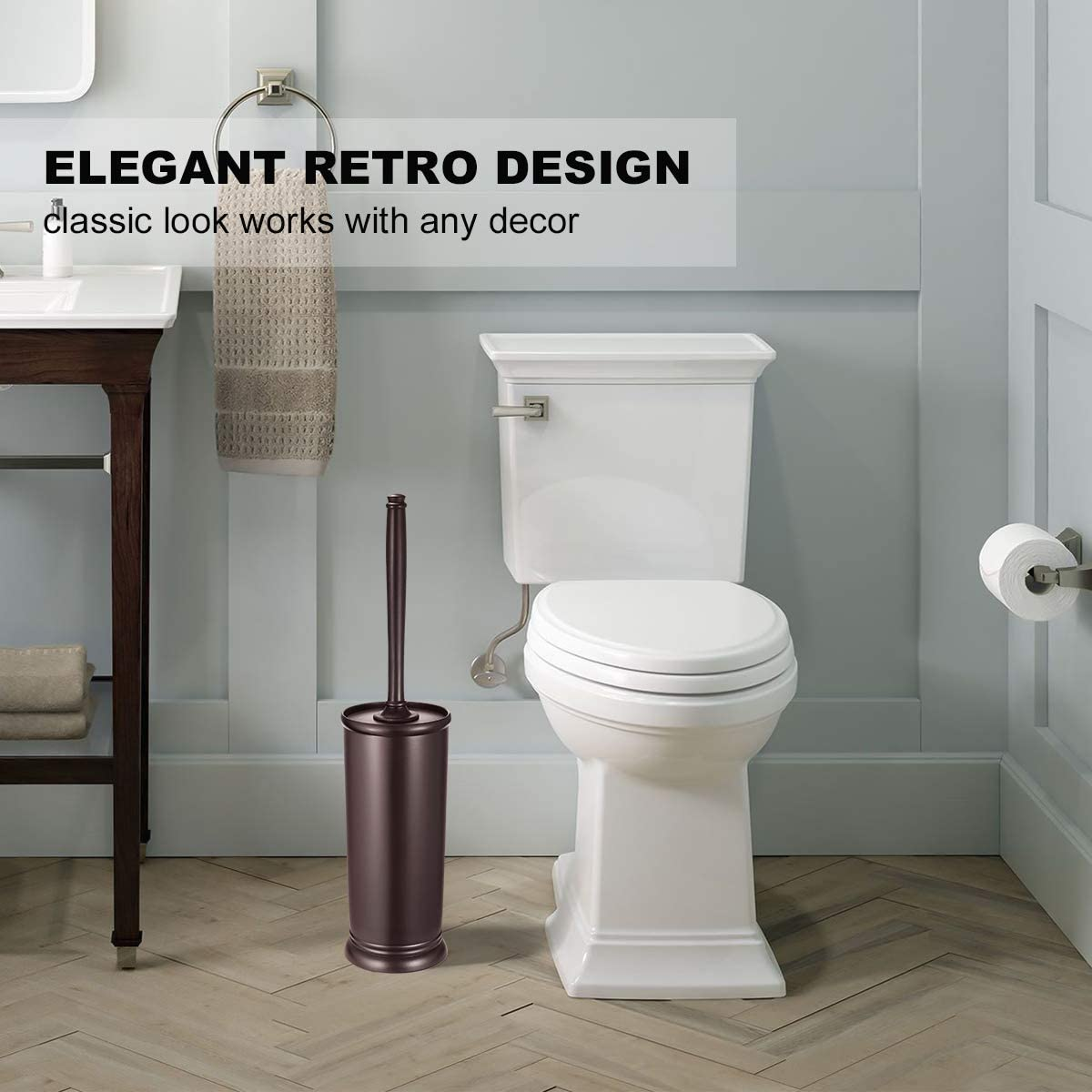 Toilet Brush and Holder 2 Pack 【2020 Upgraded】 Deep Cleaning Toilet Bowl Brush Set -- Brown