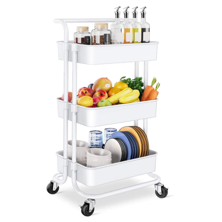 Rolling Utility Storage Cart with Handles and Roller Wheels Craft Cart for Kitchen,Office, Bathroom - White