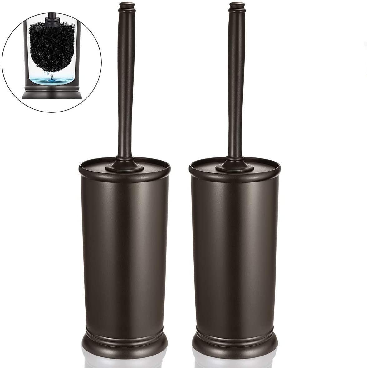 Toilet Brush and Holder, Deep Cleaning Toilet Bowl Brush Set Ergonomic 2 Pack - Bronze