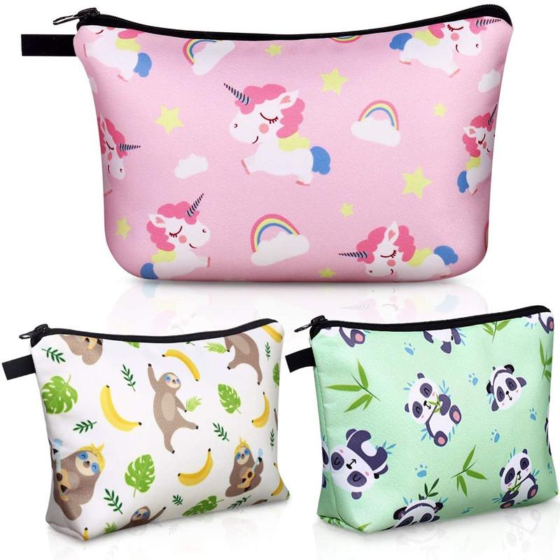 Cosmetic Bag for Girls, 3 Pack Cute Makeup Bags for Women Travel Toiletry Bag (Gifts in Sloth, Unicorn, Panda Print)