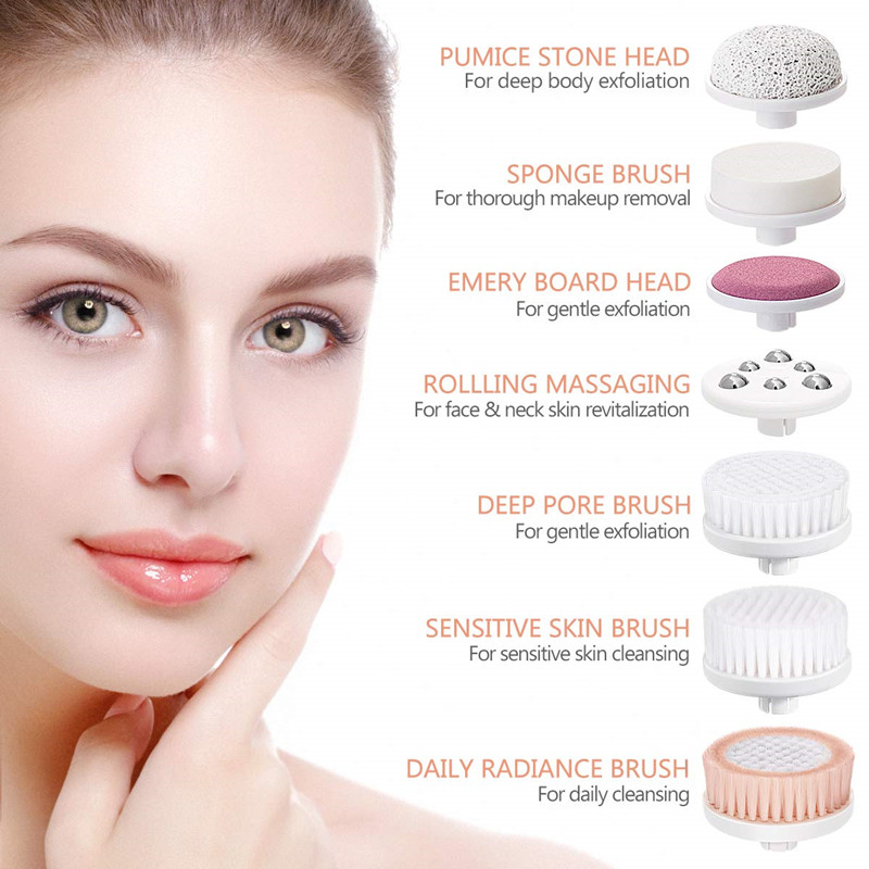 Face Brush Waterproof Skin Cleansing Scrub with 7 Heads, ETEREAUTY Spin Brush (White)