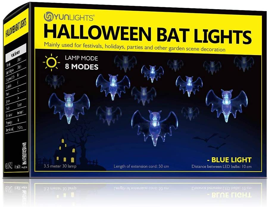 Halloween Bat String Lights, LED Waterproof Decoration String Lights For Halloween Party Holiday Yard Decorations Decor,Halloween Night Light