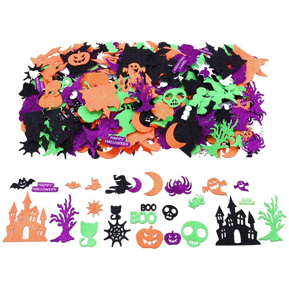 Halloween Glitter Foam Craft Stickers Halloween Bedroom Decor Assorted Foam Craft Stickers for Halloween, 500 Pieces