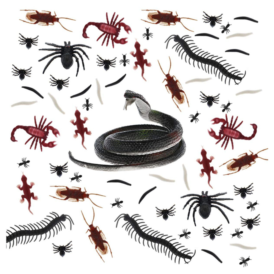 Halloween Plastic Realistic Bugs, Trick Joke Decoration Scary Insects for Prank Prop or Halloween Decoration