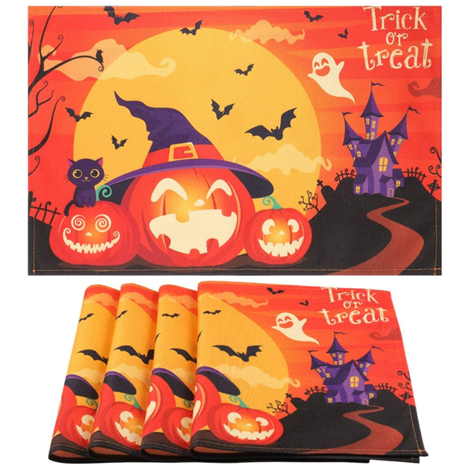 Halloween Placemats Set of 4, Ghost Pumpkin Pattern Linen Placemats, Heat-Resistant Halloween Table Mats Pads for Dining