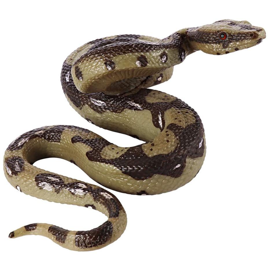 Realistic Snake Toy Fake Snake Figure Rubber Python Model Garden Props for Halloween Decor