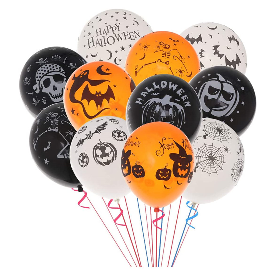 Thickening Printedx Decorative Latex Balloon for Halloween Party Decoration Mixed Color, 100 pcs 12 Inch