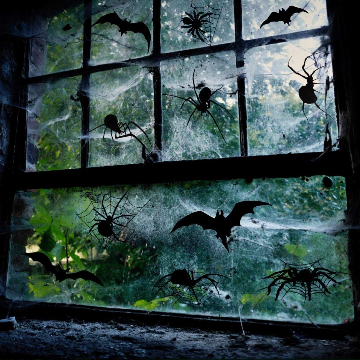 Halloween Window Clings Scary Window Stickers Party Window Decals Decorations for Halloween Party 10 Sheets