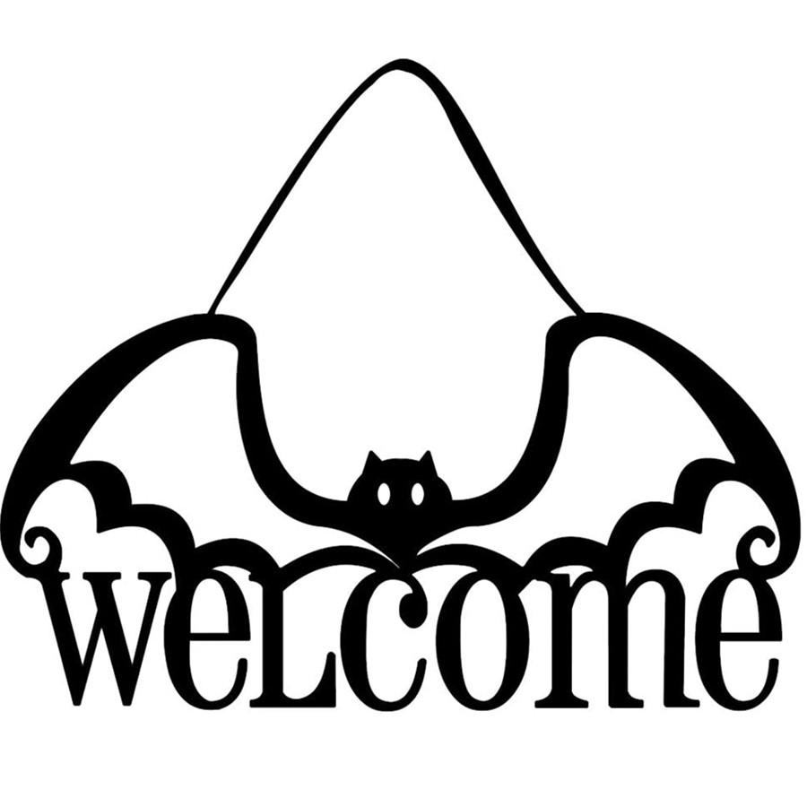 Halloween Hanging Decoration Nonwoven Welcome Bat Hanging Door Decor Halloween Festival Decor Home Party Supplies