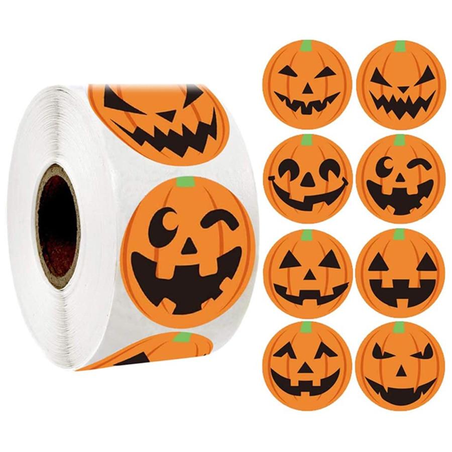 Creative Pumpkin Stickers Halloween Pumpkin Stickers Gift Packing Sticker for Halloween Party Festival DIY