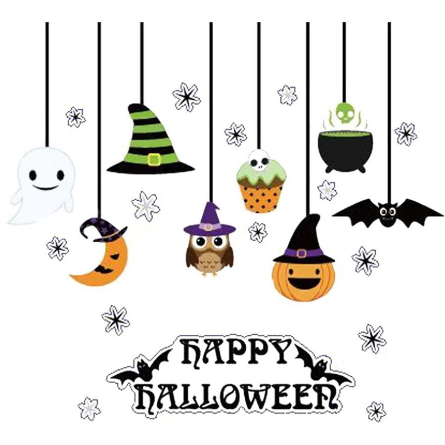 Happy Halloween Sticker Pumpkin Spooky Cemetery Witch and Bat Wall Decals Window Stickers Halloween Decorations