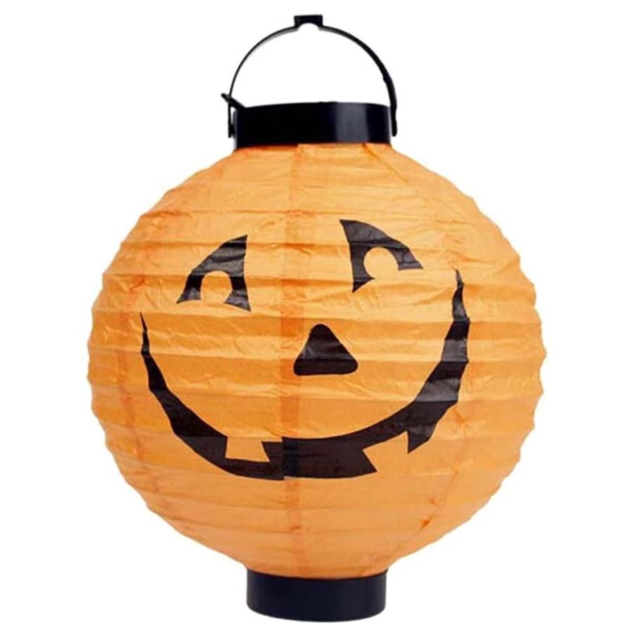 Halloween Party Decorations Paper Lanterns LED Pumpkin Hanging Round Lantern 1 PCS
