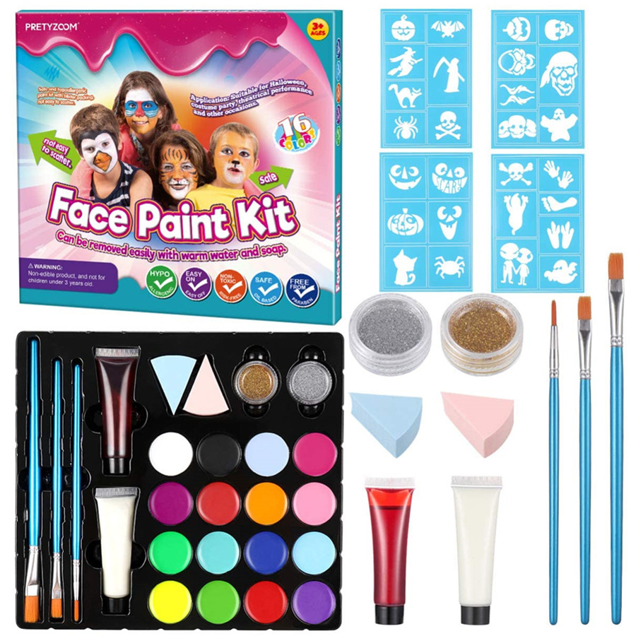 Face Paint Kit for Kids Non-Toxic Palette, Glow Neon Face and Body Paint, for Children Halloween Party Makeup