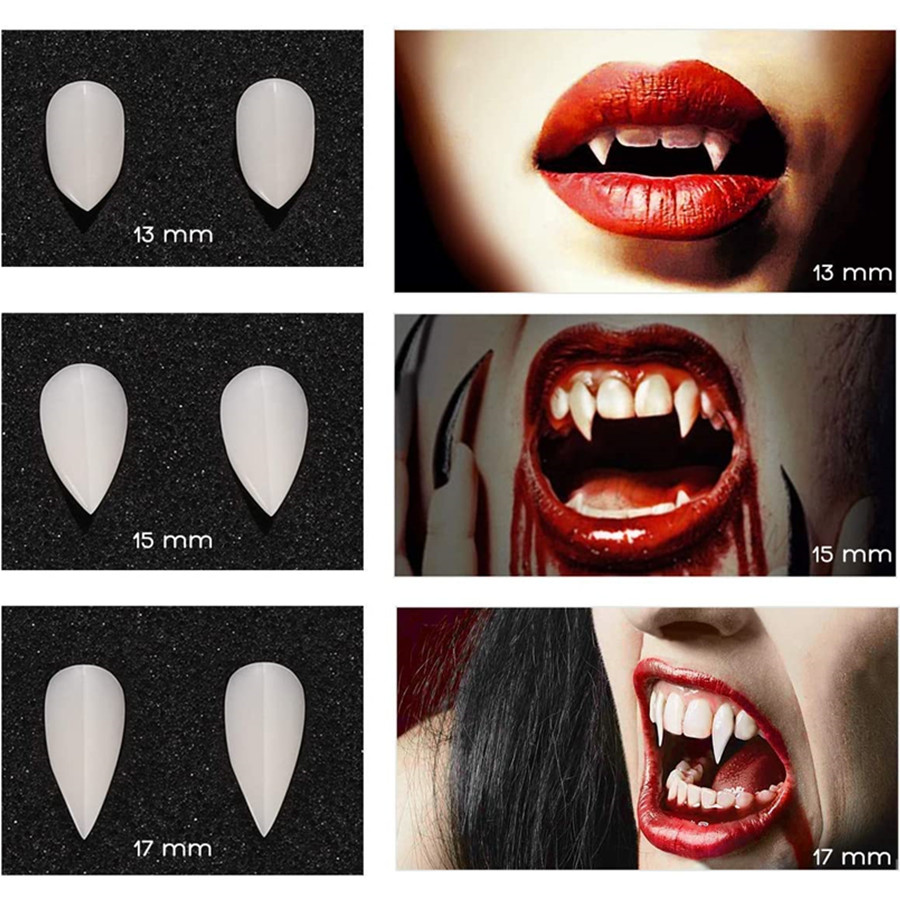 Vampire Teeth Dentures Fangs for Halloween Makeup Party Cosplay Costume Set 3 Pairs