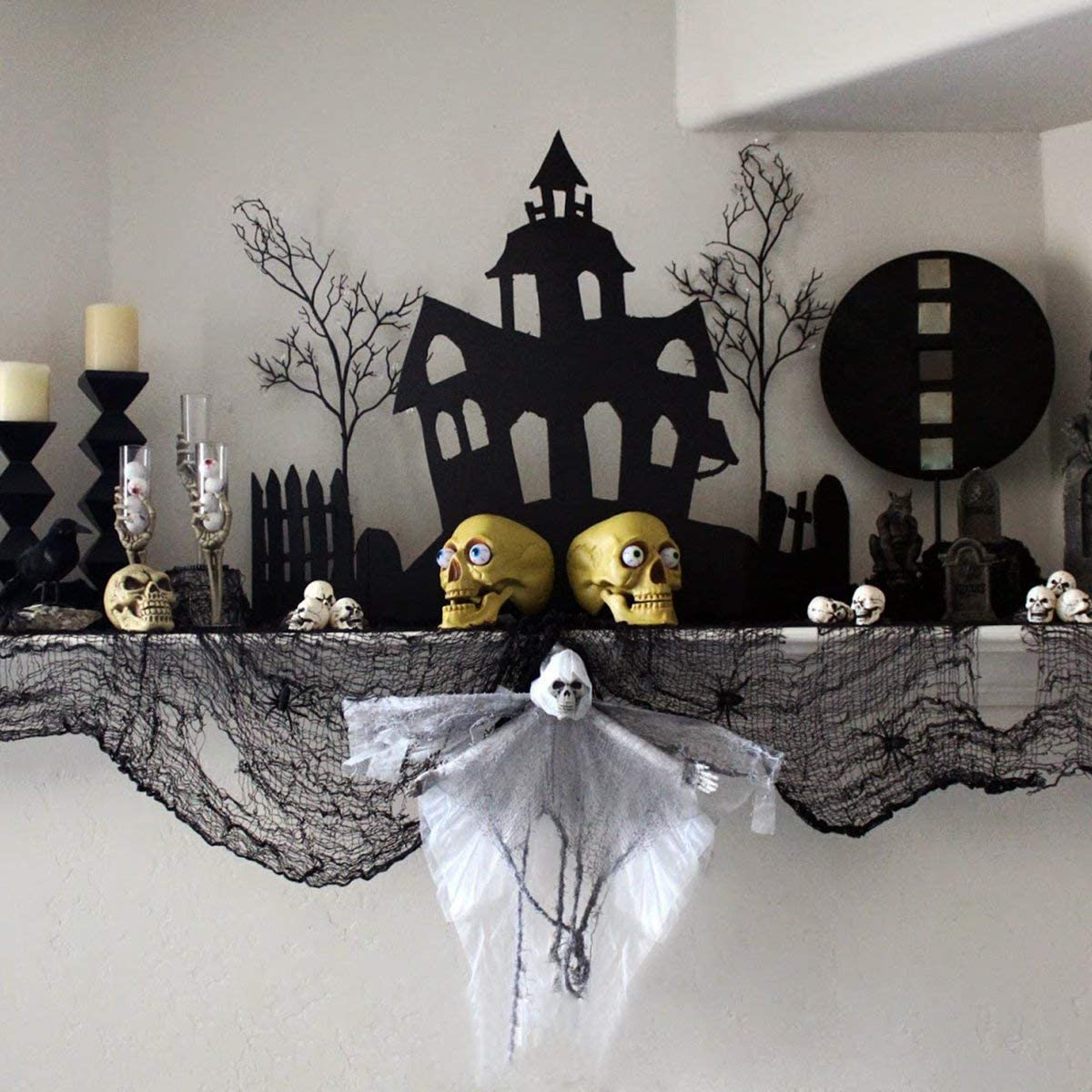 Black Creepy Cloth, Spooky Halloween Decorations for Haunted Houses Party Doorways Outdoor
