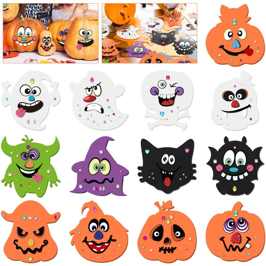 Halloween Crafts Kit for Kids, Foam DIY Pumpkin Decorating Stickers for Halloween Games