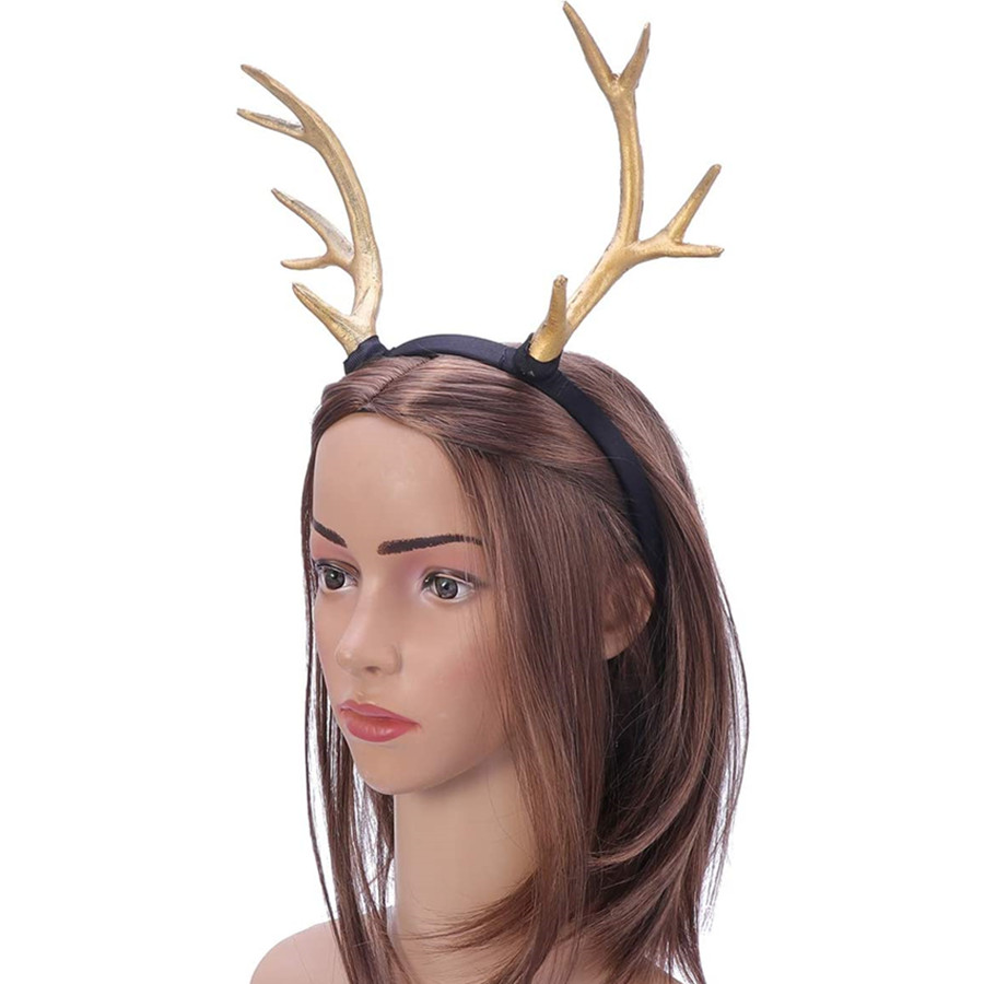 Reindeer Antler Headband Hair Accessory for Halloween Christmas Party (Gold, S)
