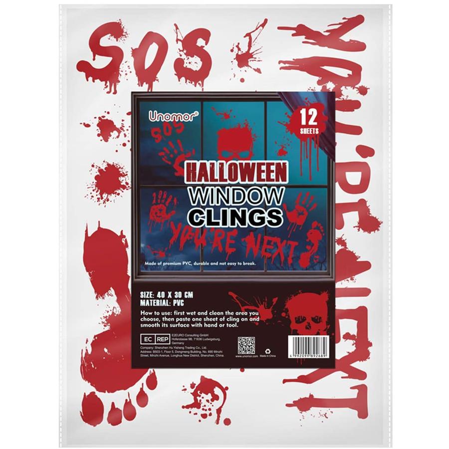 Halloween Window Clings, 12 Sheets Bloody Handprint Footprint Skull Blood Decor Floor Clings for Halloween Decorations 112 PCS