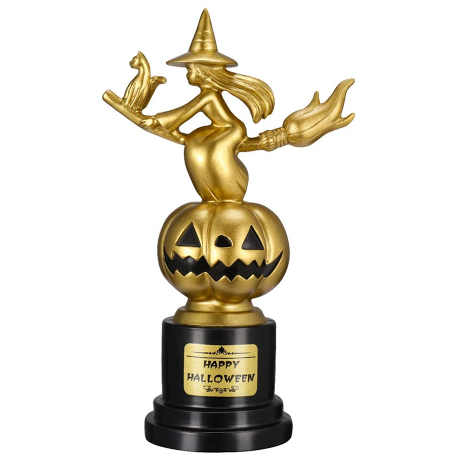 Halloween Witch Pumpkin Trophies 6.8X 4.3Inch Golden Halloween Award Trophy for Party Celebrations Halloween Games