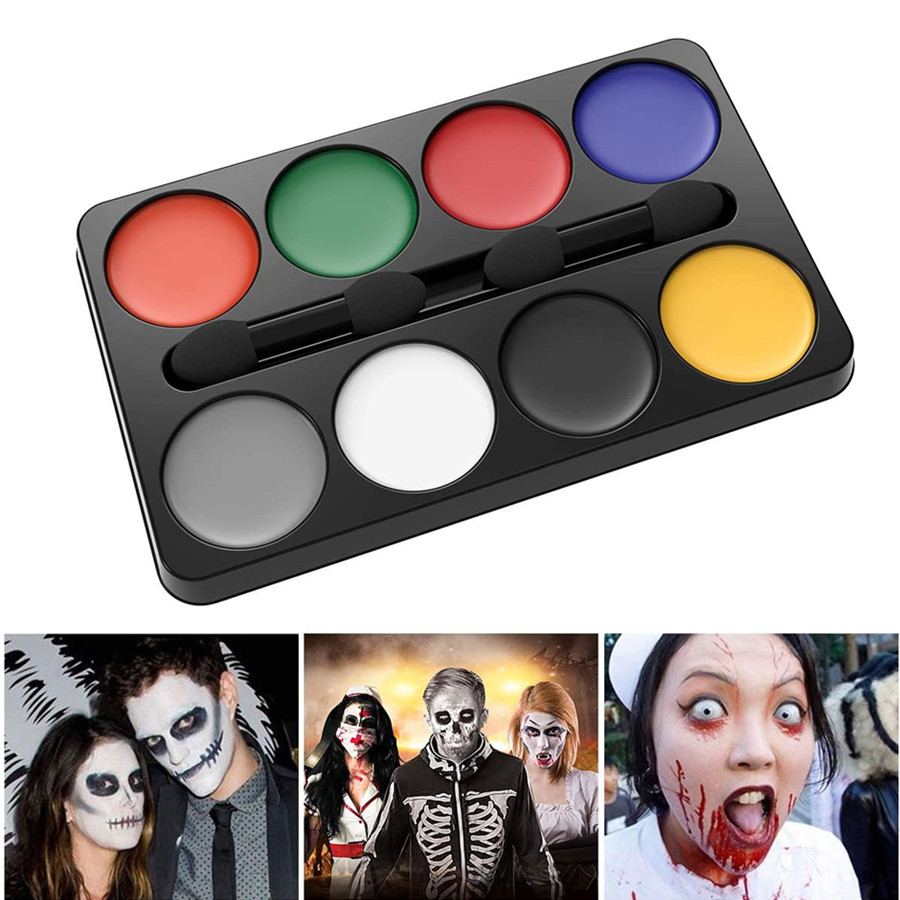 Halloween Makeup Kit Face Painting for Vampire Clown Witch Ghost Makeup Costume with 8 Colors