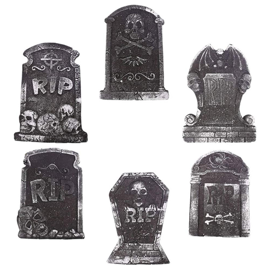 Halloween Decoration Foam Tombstone Ornament Decoration Random Style 6PCS