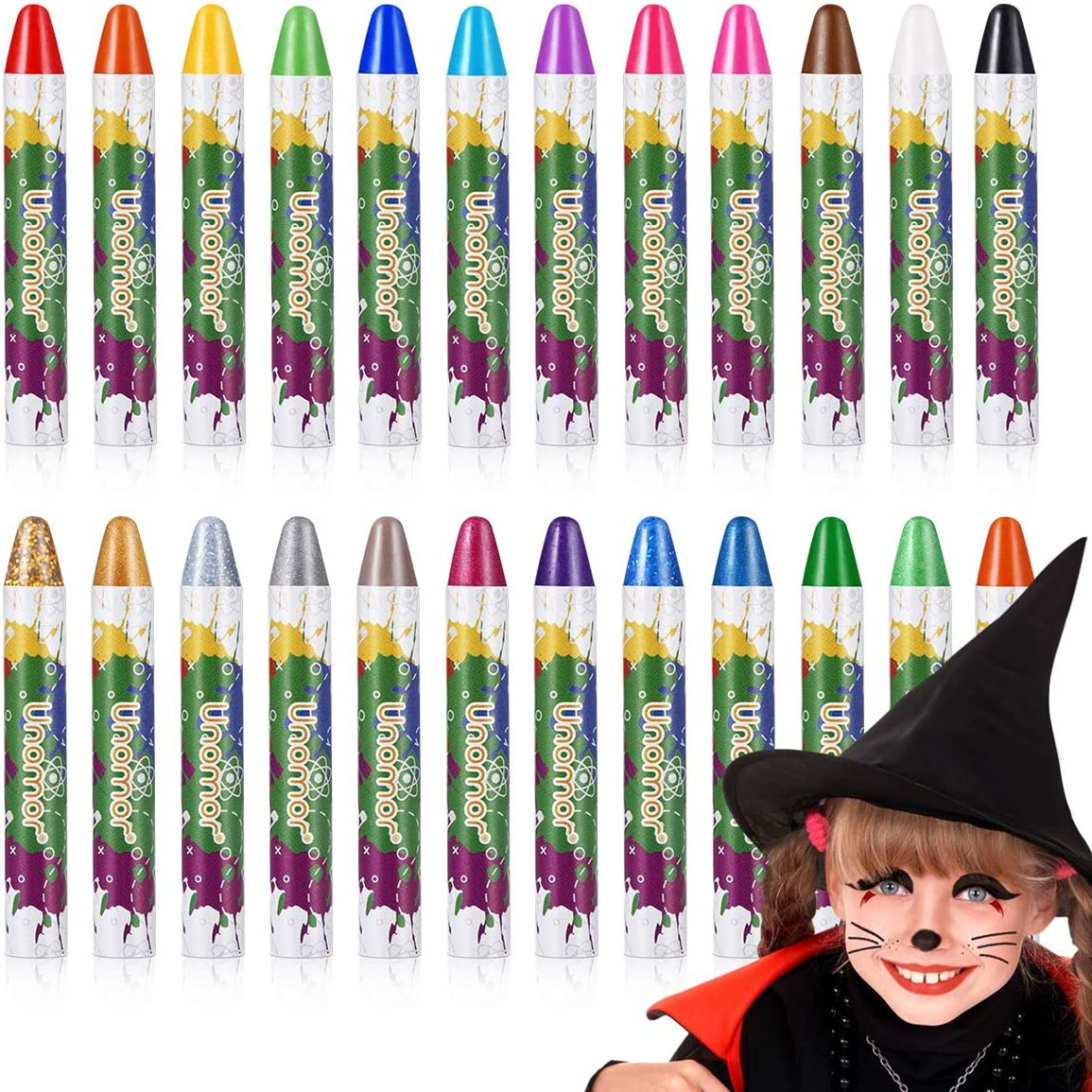 Halloween Makeup Kits, Halloween Face Paint Body Crayons for Kids Makeup Costume with 2 Color Body Glitter, 22 Colors