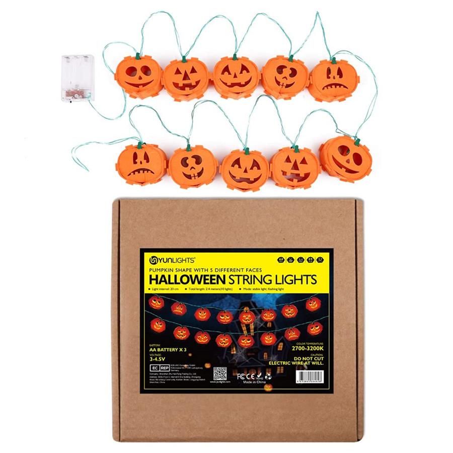 Halloween Pumpkin String Lights, 8FT Battery Operated String Lights for Indoor, Party, Halloween Decoration