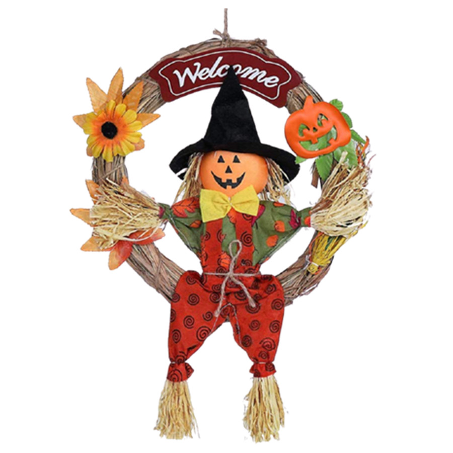 Halloween Welcome Garland Adorable Pumpkin Wall Hanging Wreath Home Bar Mall Wall Decoration Random Color and Pattern