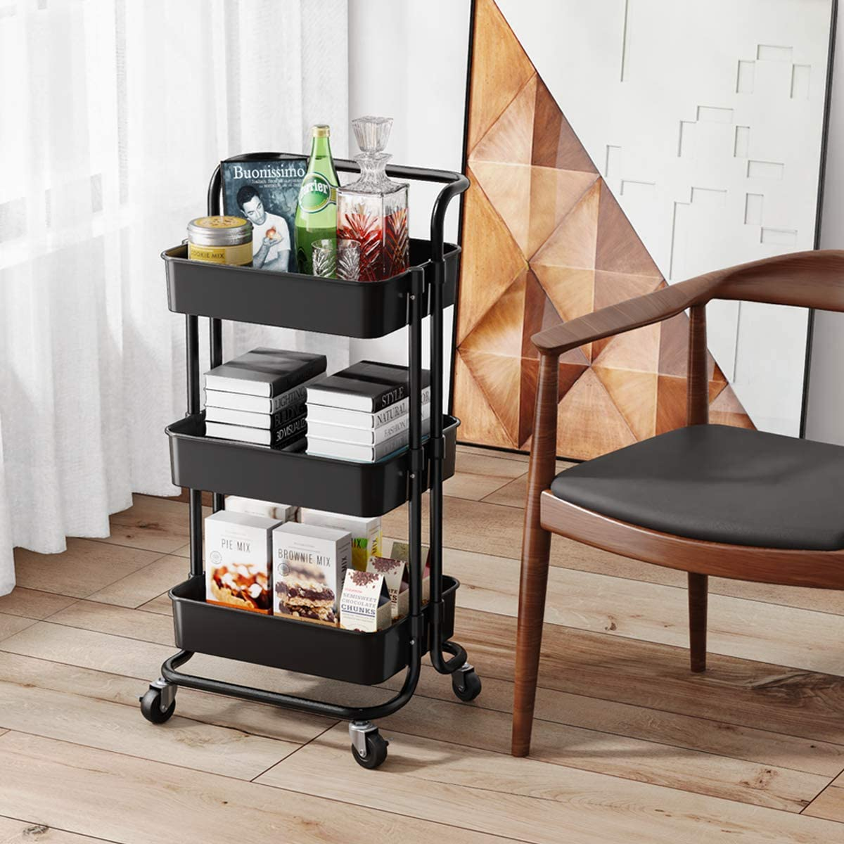 Rolling Utility Storage Cart with Handles and Roller Wheels 3 Tier Craft Cart for Kitchen, Coffee Bar, Storage, Bathroom (Black)