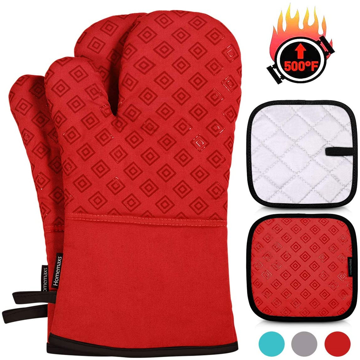 Heat Resistant Non-Slip Kitchen Mitten Silicone Cooking Gloves, Oven Mitts and Pot Holders Sets 4pcs (Red)
